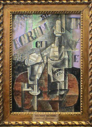 Clarinet, bottle of bass, newspaper, ace of clubs, 1913 ...  |Mandolin And Clarinet Picasso